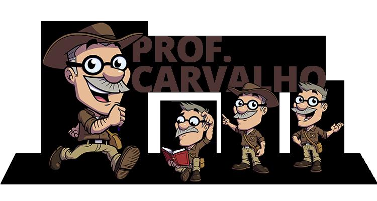 """Demonstrações do Cartoon """"Professor Carvalho"""", um baixinho de bigode e grisalho vestido como um Arqueólogo aventureiro."""